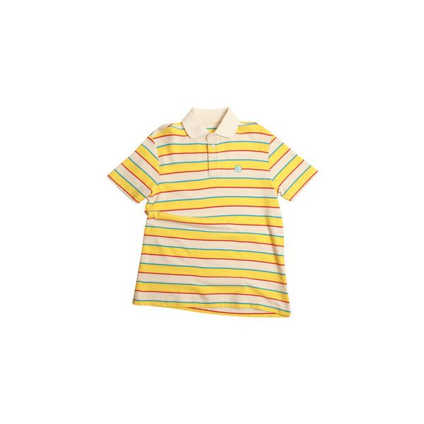 ERIC STRIPED POLO ORANGE/WHITE/PINK/BLUE ($75) ❤ liked on Polyvore featuring tops, blue top, pink striped top, pink top, polo tops and stripe top