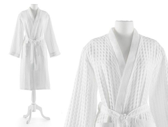 Peacock Alley Waffle Robe in White - Large/XL ON BACKORDER UNTIL LATE MARCH
