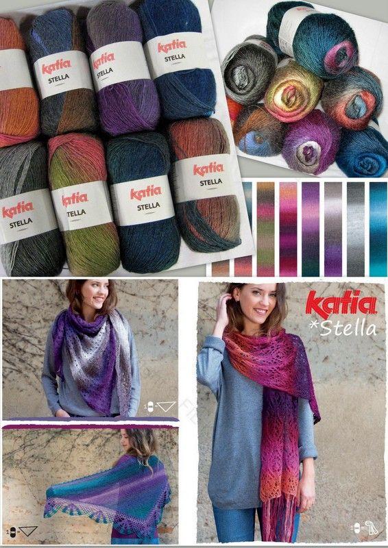 Met Katia Stella brei of haak je een prachtige omslagdoek of kleurrijke sjaal uit één bol, je hebt de keuze uit acht kleuren. Door het kleurverloop krijg je een mooi effect in je brei- of haakwerk. Liever iets anders breien met Katia Stella? Ook sokken, truien, vesten, poncho's, dekens maak je met dit mooie garen.   Steekverhouding 10 x 10 cm: 15 steken x 20 naalden Naalddikte:  5,5 - 6  Looplengte: 550 meter  Gewicht: 100 gram  Samenstelling: 80%acryl, 10%wol, 10% alpaca wol