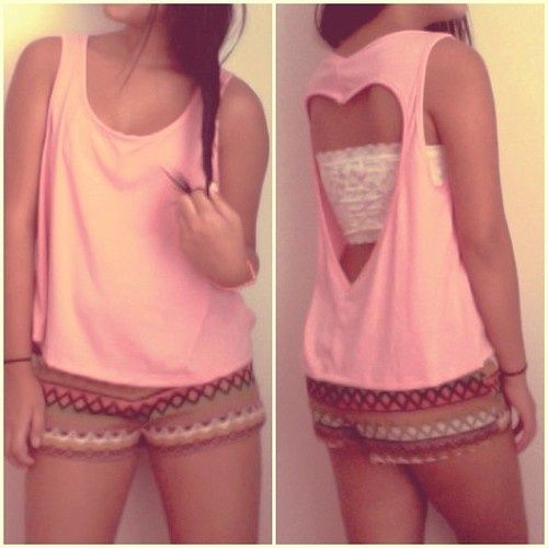 diy shirt ideas | diy clothes ideas / DIY Heart Shirt - cute idea but i cld never walk out the house with the back of my shirt cut open even if it's in the shape of a heart
