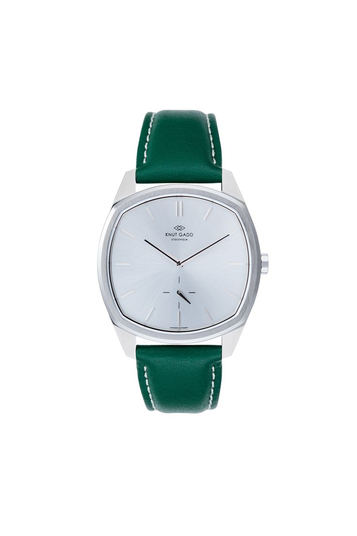 #knutgadd #knutgaddstockholm #watches #greenleather #leather #silverwatch #fashion #wristwatch  #wristband #style