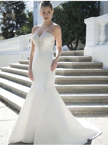 robe de mariage glamour satin eglise col en coeur