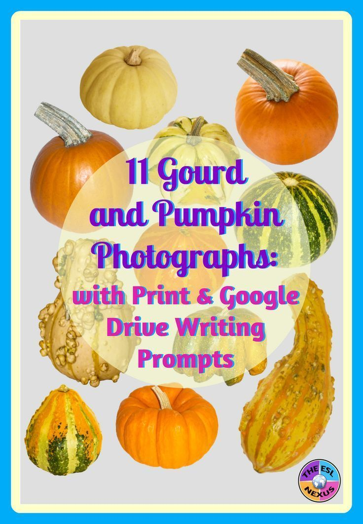 Find gourd & pumpkin photographs and writing prompts about gourds & pumpkins in this print & digital resource. Use the photos for classroom decor or in your own teaching materials & the prompts to practice various types of writing.
