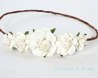 Peach White Flower Crown by DreamBowtique on Etsy