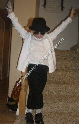 Homemade Michael Jackson Costume:  My son told me he wanted to be the King of Pop!!