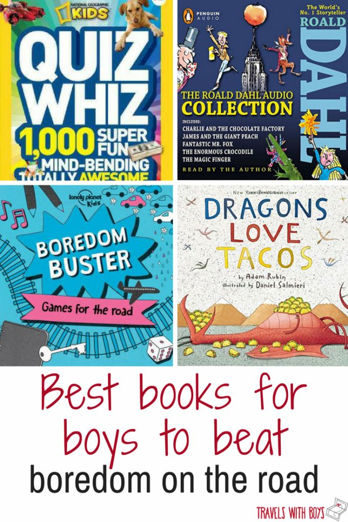 Best books for boys to beat boredom on you next road trip. Family travel travelswithboys.com