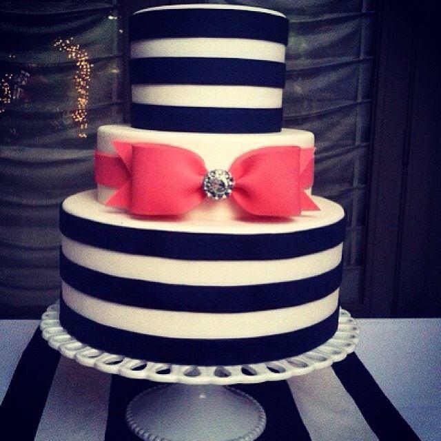 Black white pink cake