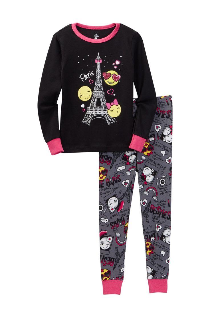 Paris Emoji Long Sleeve Pajama Set (Toddler & Little Girls)