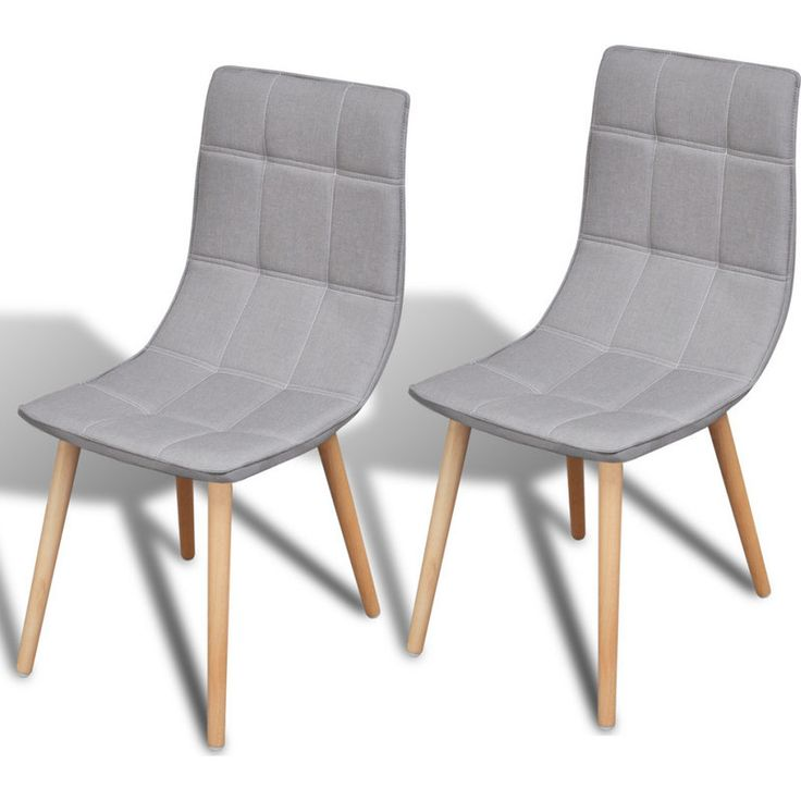 2x Fabric Dining Chairs w Wooden Legs in Light Grey | Buy Fabric Dining Chairs