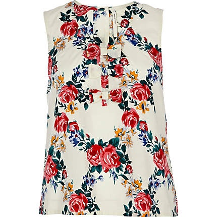 RIVER ISLAND white rose print bow front tank top - £18