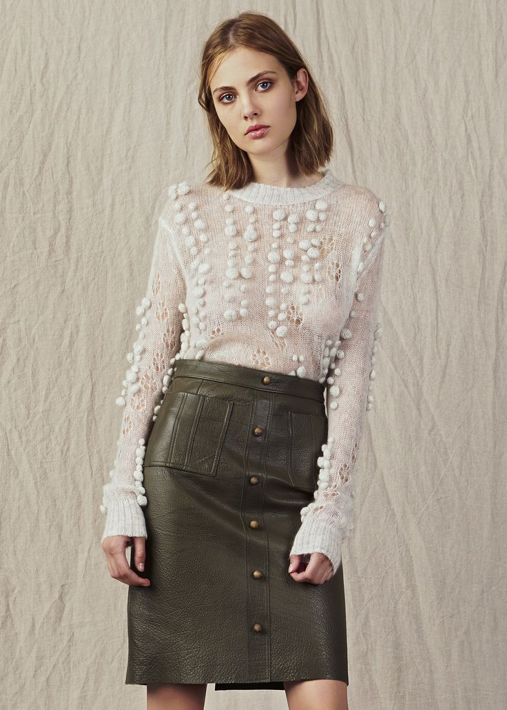 grey knit pom pom ribbing with high waist khaki leather button down skirt. Model - Kerryn @ IMG Beauty - Isabella Schimid @ Union Management Photographer - John Rintoul. #AjeTheLabel #Aje #Fashion #Style #LookBook #AW17 #Autumn #Winter #2017 #AustralianFashion #Designer