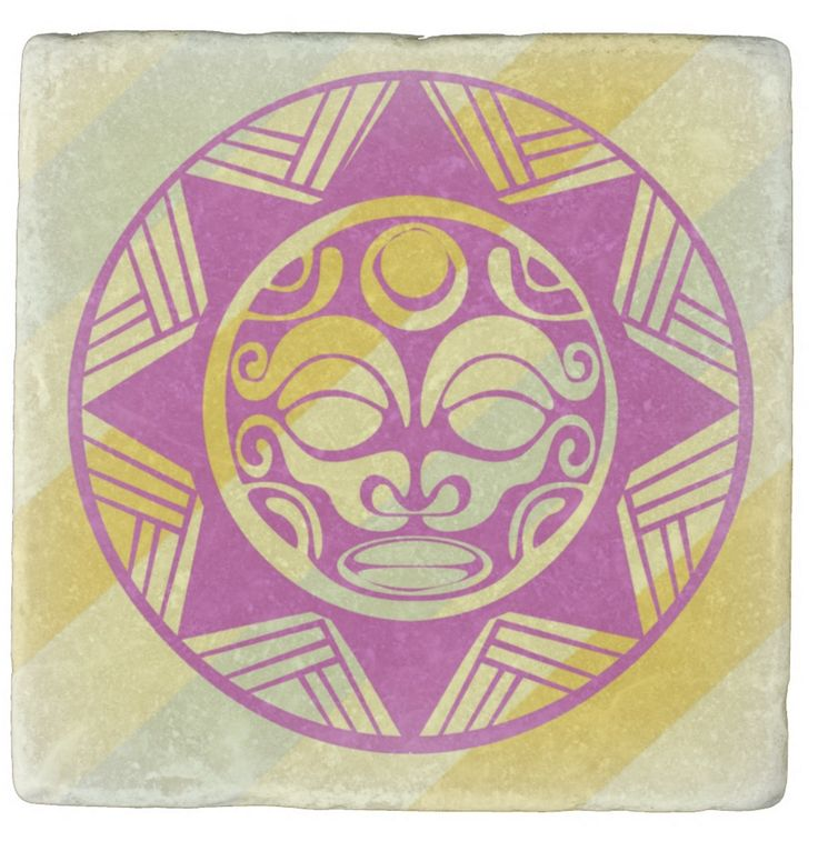 """""""Mask of Joy"""". I wanted to capture the colours of Joy for this ancient tribal smiling mask. This is one of a set of """"Joy Coasters"""" that I'm preparing. I thought the set would make for a fine gift for your valued friends."""