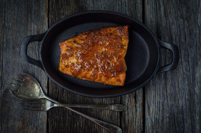 Wild-caught Alaskan Coho Salmon slathered in Honey Chipotle Bourbon Butter.