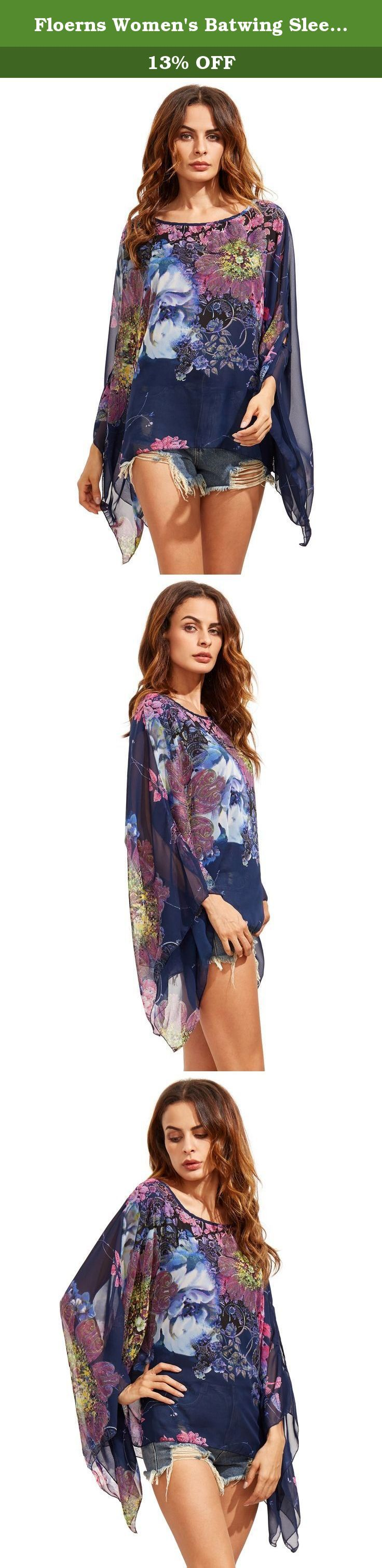 Floerns Women's Batwing Sleeve Chiffon Tunic Top Loose Blouse Cover Up Navy M. Size Chart: Navy: One Size: Bust: 74.0 inch, Length: 26.8 inch, Sleeve Length: 21.3 inch Black: One Size: Bust: 40.2 inch, Length: 26.4 inch, Sleeve Length: 21.3 inch Pink: One Size: Bust: 40.2 inch, Length: 26.4 inch, Sleeve Length: 22.0 inch Yellow: One Size: Bust: 40.2 inch, Length: 26.8 inch, Sleeve Length: 22.0 inch Black White: One Size: Bust: 34.6-47.2 inch, Length: 24.8 inch, Sleeve Length: 21.7 inch .