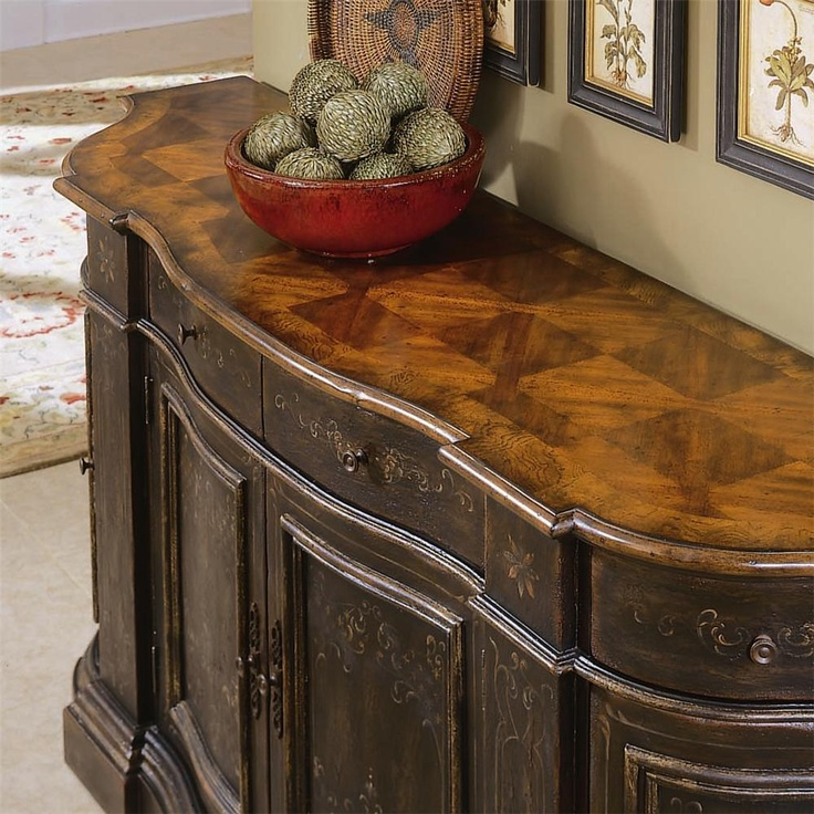Chests and Consoles Hand Painted Black Serpentine Credenza by Hooker Furniture - Riverview Galleries - Buffet Furniture Store NC by Riverview Galleries located in Durham North Carolina has the area's best Selection of Furniture Online