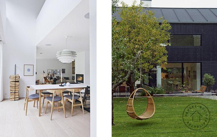 En klassisk amerikansk lade a la Skandinavien. Sådan et hus drømte familien om at bygge på deres naturgrund med egen skov. Arkitekt Lars Bo Poulsen gav dem et hus med på alle måder højt til loftet.