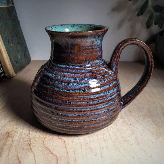 Golden Brown Coffee Mug With Blue And Turquoise, Boho Tea Cup, Eclectic Travelers Mug, Rustic Captains Mug, No Spill Mug