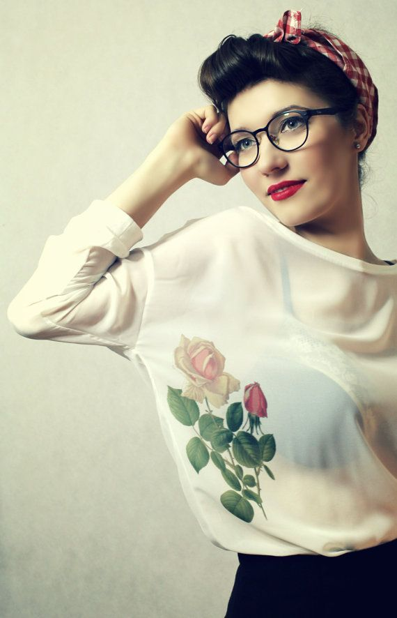 Tattoo Pin up Style Flowers Print Oversize White by kellyatlarge, $57.00