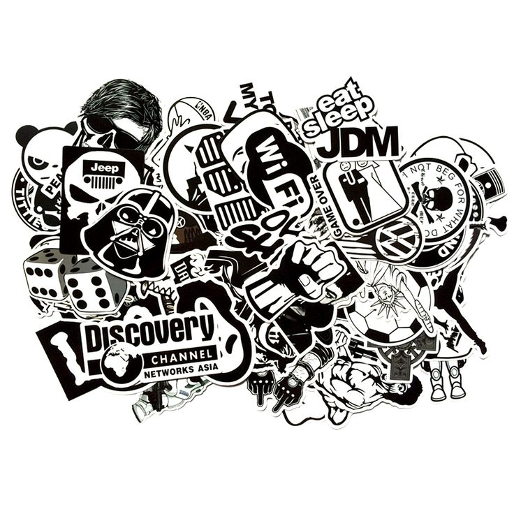 60pcs/lot Black and White Cool DIY Stickers For Skateboard Laptop Luggage Snowboard Fridge Phone Toy Styling Home Decor Stickers