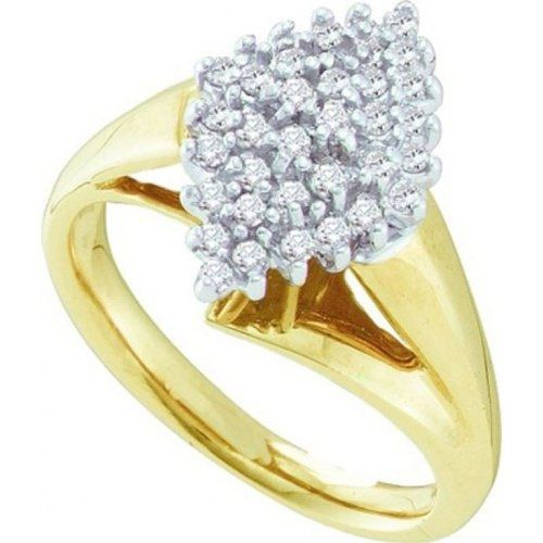Women's White Diamond 0.25CTW 10K Yellow Gold Cluster Ring GND55468-W6 | Sparkly Things Jewelry