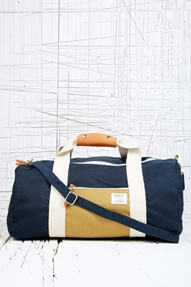Sandqvist Navy Canvas Ingo Barrel Bag