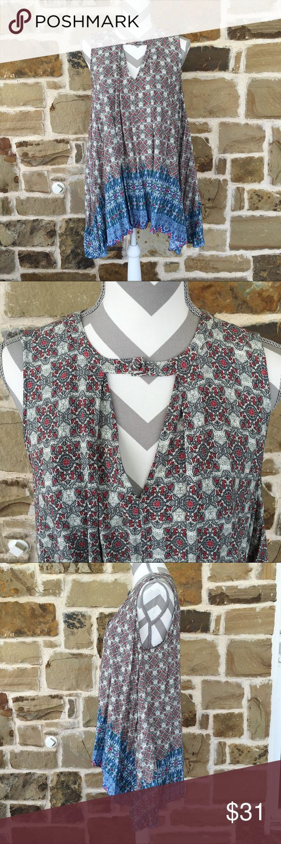 Gorgeous boho tunic One time worn!  Generous large.  Wear with leggings, skinnies or for the brave...as a dress!  Lovely colors.  Longer on sides. Tops Tunics