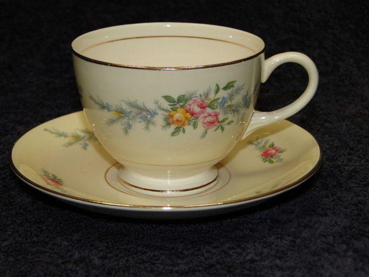 Homer Laughlin Eggshell Nautilus Ferndale Tea Cup Saucer Set EXCELLENT! #HomerLaughlin