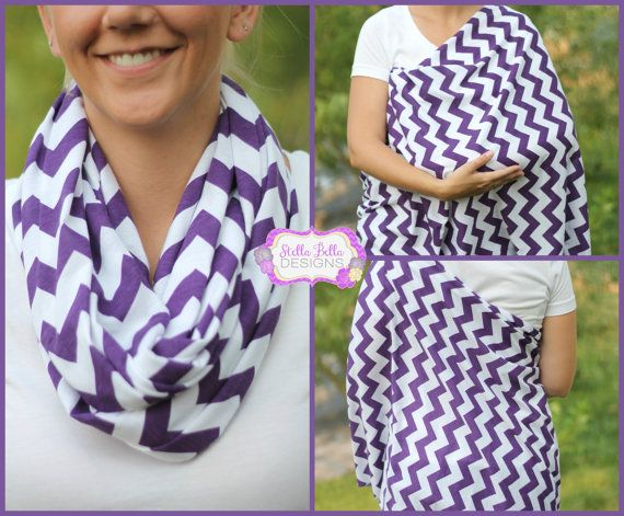 Hold Me Close Nursing Scarf - Jeweled Purple Chevron, Nursing Cover, Infinity Scarf, Infinity Nursing Scarf