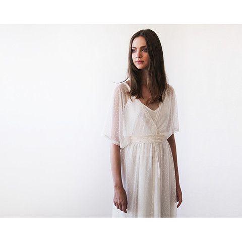 Ivory Chiffon dots sheer gown, Bridal ivory dress with bat wings sleeves, Boho style wedding dress