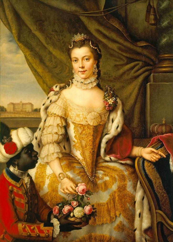 1765 or 1761 Queen Charlotte, when Princess Sophie Charlotte of Mecklenburg-Strelitz by Johann Georg Ziesenis
