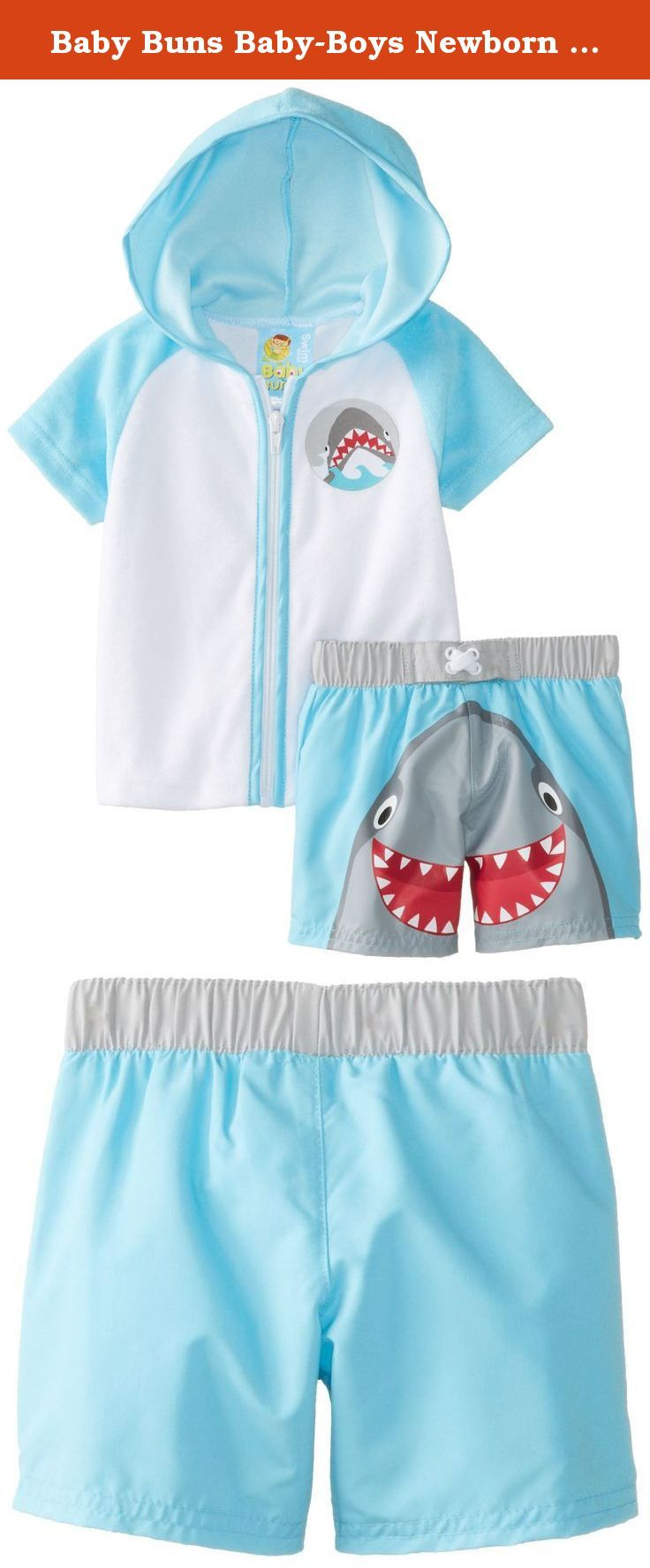 Baby Buns Baby-Boys Newborn Cover Up and Swimtrunk Happy Shark, Blue, 3/6 Months. French terry cover up with printed swim trunk.