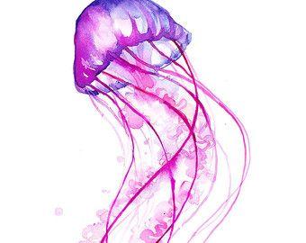 Tanzen Quallen Kunstdruck Aquarell abstrakte von 1GalleryAbove