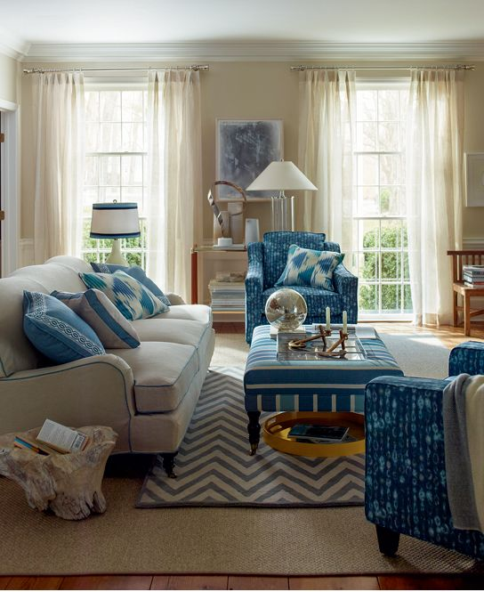 Russell Sofa With Slipcover In The Fabric Denver Sand Selections Chairs Slipcovers Amba Indigo Dossett
