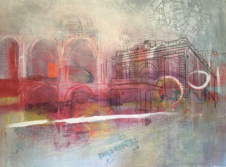 """Travelling Exhibition 2"" 36"" x 48""  thread, acrylic, watercolour, graphite, paper on canvas  ©Karen Goetzinger"