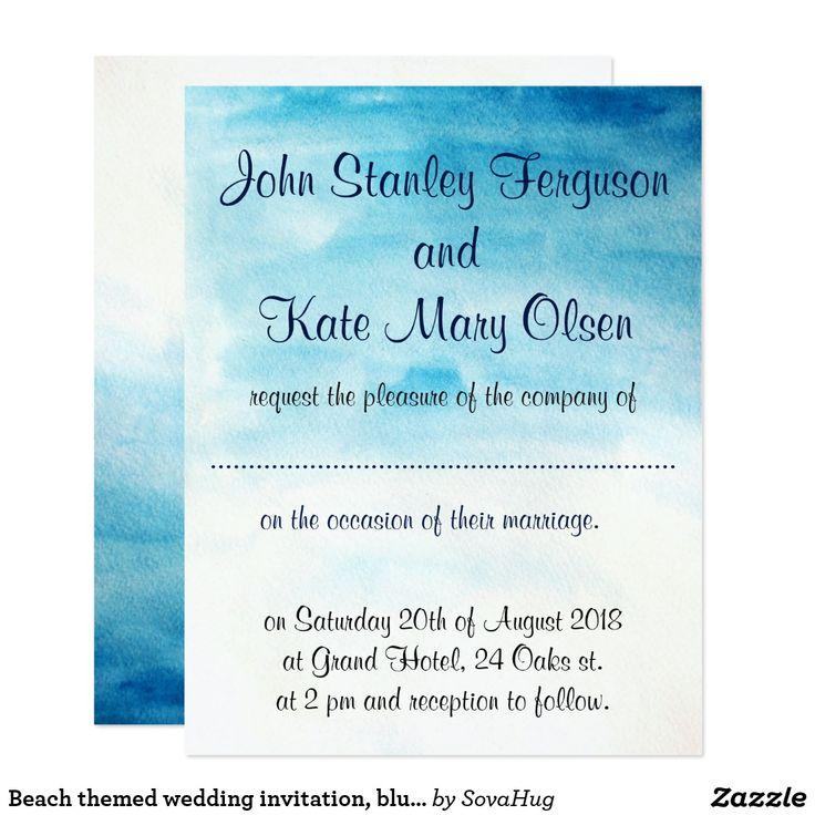 ビーチのテーマの結婚式招待状、青い水彩画 10.8 X 14 インビテーションカード