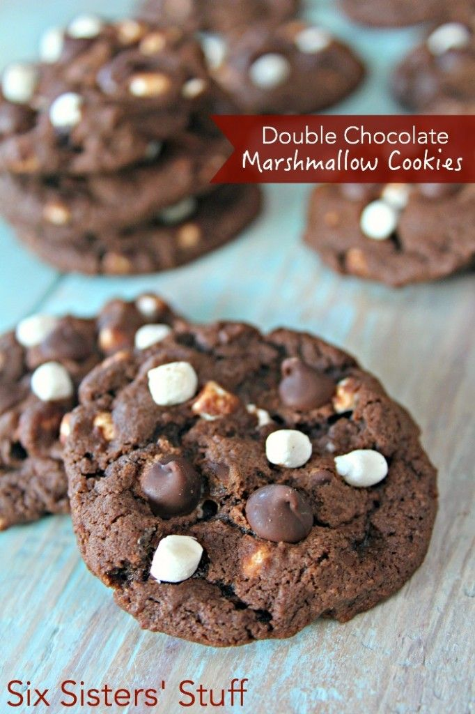 Double Chocolate Marshmallow Cookies on SixSistersStuff.com - perfect for Christmas!