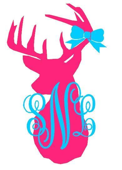 Monogram Buck Deer Decal On Etsy 6 00 Kreations By
