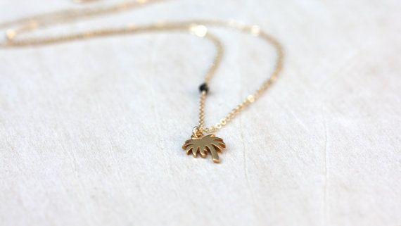 Gold Palm Tree Necklace / Palm Tree Bead by WildAboutFrank on Etsy