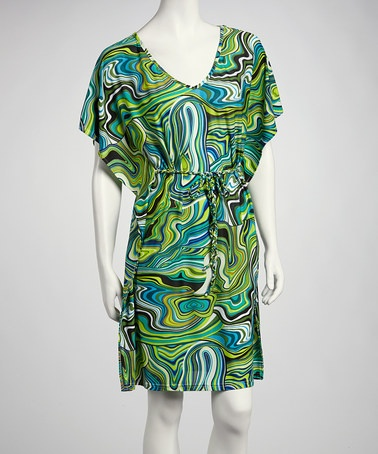 Take a look at this Blue & Green Swirl Cape-Sleeve Dress by Just Love on #zulily today!