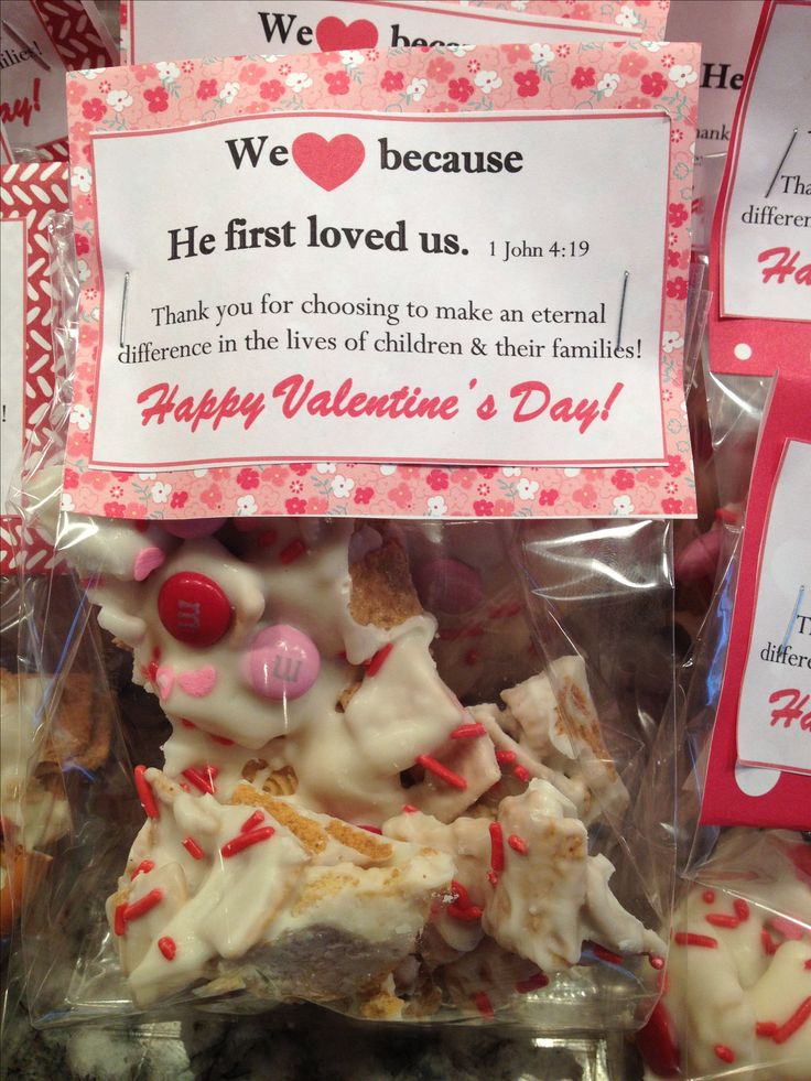 Valentine's Treats for my church volunteers | Valentine's Bark: Blondie Oreos, Golden Grahams, pretzel sticks, white almond bark, m&m's, sprinkles.
