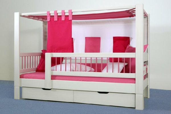 himmelbett holz rote farbe wand in grau himmelbett f r kinder 20 wundersch ne vorschl ge. Black Bedroom Furniture Sets. Home Design Ideas