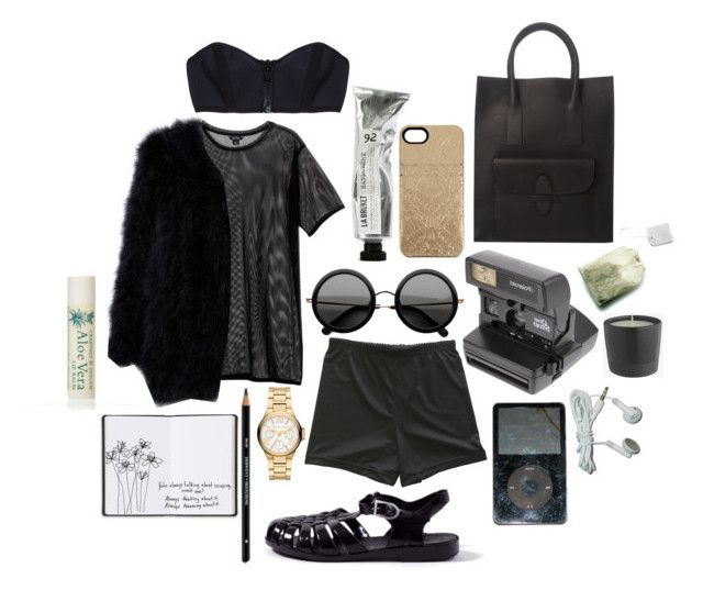 """""""mesh"""" by sophie-lawrence ❤ liked on Polyvore featuring Monki, Michael Kors, The Row, Limedrop, Impossible Project, CÉLINE, Harrods, Lisa Marie Fernandez and Alöe"""