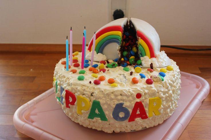 Unicorn rainbow cake cut open