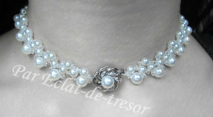Collier tissé Fleur Argent 925, cristaux Swarovski via Eclat de tresor. Click on the image to see more!