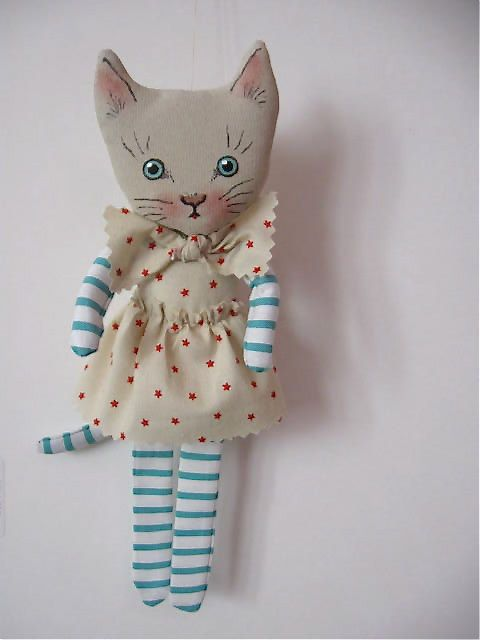 Cat art doll - white cat- cute- wall art - wall hanging doll- Nursery room art-shabby- cottage chic