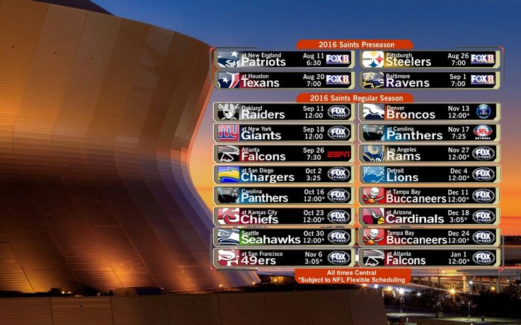 2016 New Orleans Saints Football Schedule