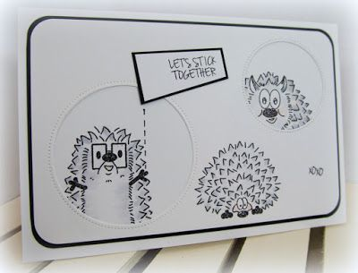 Simply Monica created this fun card by letting the hedgehogs peek out of the card.  Just too cute!