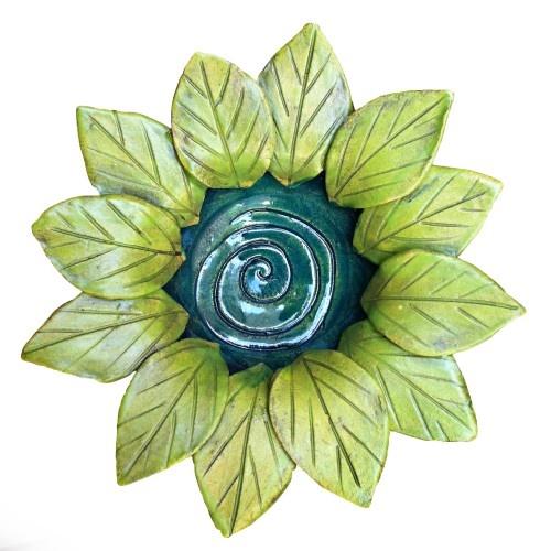 pinch pot w slab leaves
