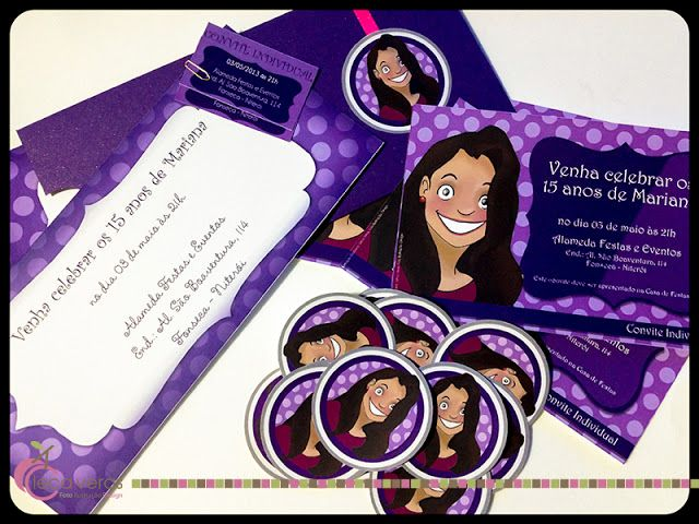 LECA VERAS Foto Ilustração Design: Convites da Mariana - 15 anos