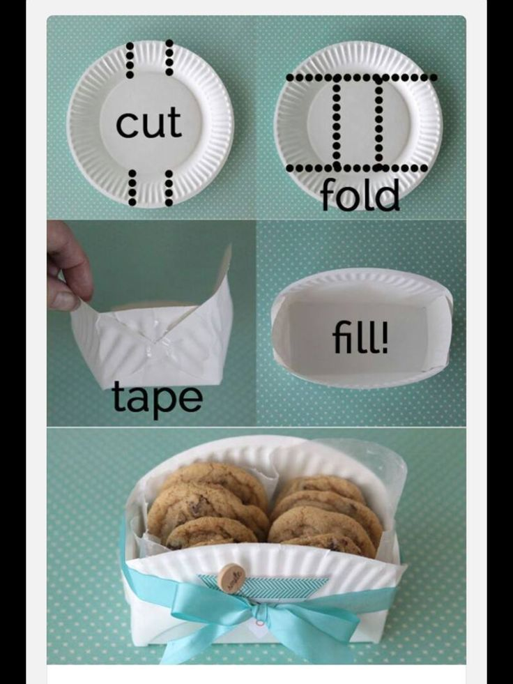 Cut, fold, tape, fill ~ transform a paper plate into a container!
